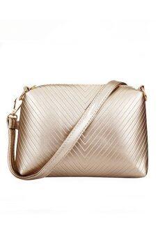 RichCoco SET กระเป๋าแฟชั่นเกาหลี + กระเป๋าถือผู้หญิง + กระเป๋าสะพายข้าง + เซ็ต 3 ใบ (สีทอง)