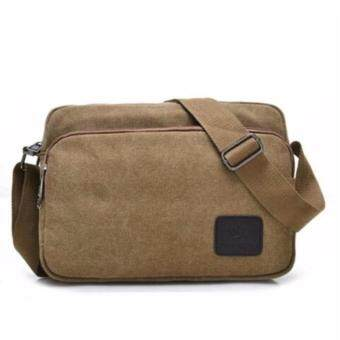 TOP CLASS กระเป๋าสะพาย กระเป๋าผู้ชาย กระเป๋าแคนวาส กระเป๋าไอแพ็ต สีน้ำตาล Code0988