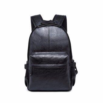 stmartshopกระเป๋าเป้สะพายหลังหนัง กระเป๋านักเรียนกระเป๋าคอมพิวเตอร์ รุ่น stm9024 (สีดำ)