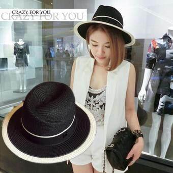 KPshop หมวกแฟชั่น หมวกมีปีก หมวกเที่ยวทะเล รุ่น LH-022 (สีดำ)
