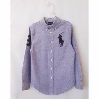 Polo Ralph Lauren เสื้อเชิ๊ตผ้าสีฟ้า Oxford ปักม้าใหญ่สีกรมท่าเข้ม แขนยาว