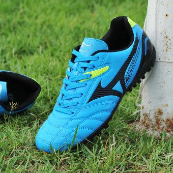 คนฝึกรองเท้าผ้าใบรองเท้ากีฬาฟุตบอลอาชีพกลางแจ้งสีน้ำเงิน