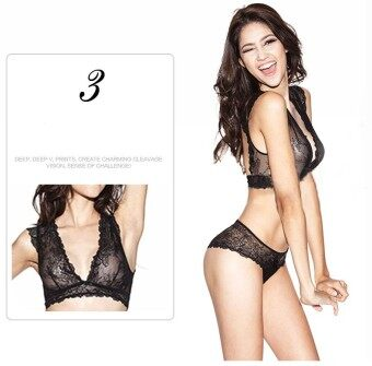 Harga Underwear for women sexy bra set lace thin see through bras wireless U.S back plunge bra and panty set 36C(Black) - intl