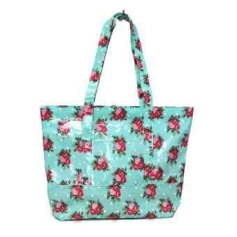Alizs กระเป๋าทรงพัดใบใหญ่เคลือบลายดอกไม้สีเขียว