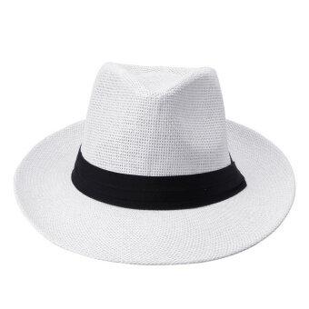 ผู้หญิงแฟชั่นชายสวมหมวกฟางสานสีดำหยิกซันโบตัวตัดชายหาดยอดหมวก