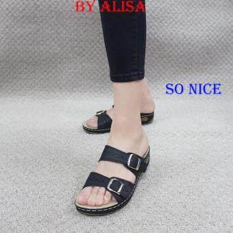 Alisa Shoes รองเท้าหนังเพื่อสุขภาพ รุ่น RC61368-29 Black