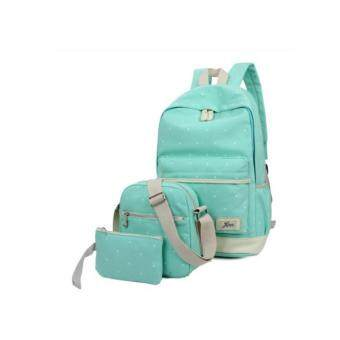 กระเป๋านักเรียนลายจุด 3in1 (สีเขียวอ่อน)