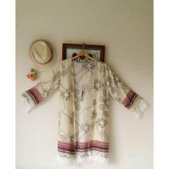 Panicha By mama เสื้อคลุมแฟชั่น คาร์ดิแกนตัวยาว แขนแต่งด้วยภู่ ลายดอก สีครีม ผ้าสปันบอน ผ้านิ่มใส่สบาย รุ่น MM-070