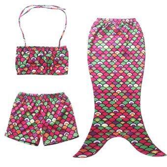 ๆ 3ชิ้นชุดเจ้าหญิงเงือก Swimmable ชุดว่ายน้ำบิกินี่หางตั้งชุดว่ายน้ำ