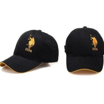Harga City outdoor leisure drive essential sun hat Paul POLO hat male baseball cap golf hat(Black gold) - intl