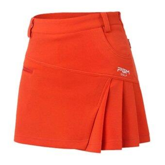 EXCEED กระโปรงสำหรับสุภาพสตรี PGM สีส้ม Newest Brand Woman Golf Skirt Summer Clothes Pantskirt Anti Emptied Golf Shorts Fashion Pleated Skirt Safety Wrinkle Shorts (Orange) QZ012