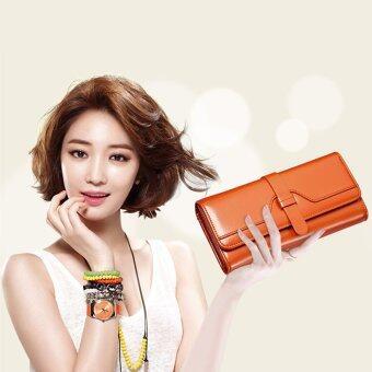 Beauty bag กระเป๋าสตางค์ใบยาว กระเป๋าเงินผู้หญิง กระเป๋าสตางค์น่ารัก รุ่น LW-001 (น้ำตาล)