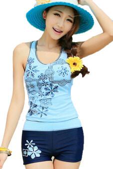 Azone คุณภาพสูงน้ำทะเลเสื้อสตรี+ใส่ชุดว่ายน้ำชุดกีฬาชุดว่ายน้ำ (สีน้ำเงิน)
