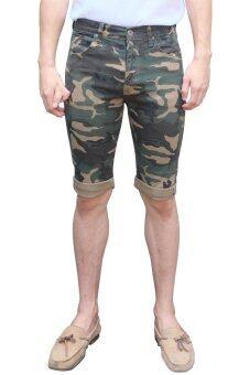 Golden Zebra Jeans กางเกงลายทหารสีกากี ผ้ายืดขาสั้น