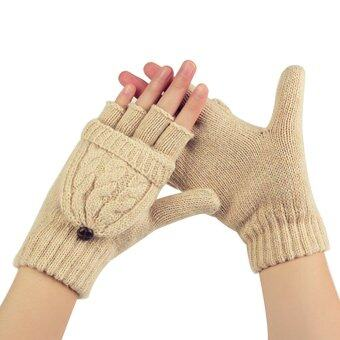 แฟชั่นหน้าหนาวสาวถุงมือถุงมือผ้าขนสัตว์ไหมพรมถุงมือลงสีเบจ