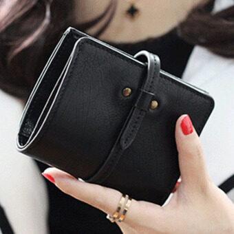 ลาวีมินิน่ารัก ๆ กระเป๋าสตางค์กระเป๋าถือกระเป๋าคลัตช์สั้นที่เก็บบัตรประชาชน (สีดำ)