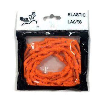 iRun เชือกรองเท้า เชือกผูกรองเท้า ไม่ต้องผูก รองเท้า แบบตุ้ม แบบปม Elastic No Tie Shoelace For Trainer Triathlon Running Rope Round Knot - Orange