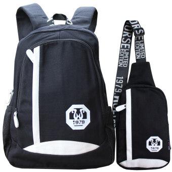 Peimm Modello Set Backpack & Shoulder Bag กระเป๋าเป้สะพายหลัง+กระเป๋าสะพายพาดลำตัว กระเป๋าคาดอก สไตส์เกาหลี (สีดำ)