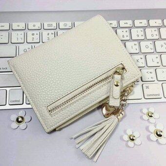 Korean style กระเป๋าสตางค์ผู้หญิงใบสั้น รุ่น AC-003CM(สีครีม)