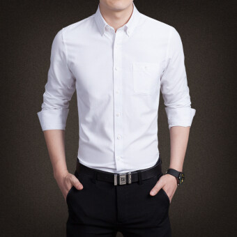 นิวแฟชั่นเสื้อเชิ้ตผู้ชายหล่อธุรกิจหลากหลายสีแขนยาวเสื้อสันทนาการขนาดใหญ่ (ขาว)-ระหว่างประเทศ