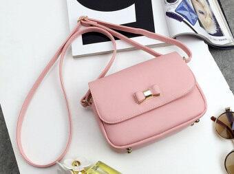 Aline กระเป๋าสะพาย ฝาบน โบว์หน้า สีชมพู