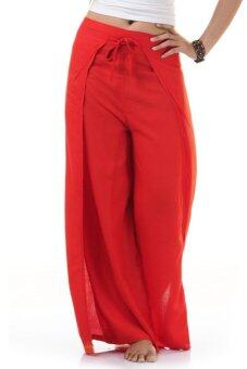 Princess of Asia กางเกงผ่าข้าง กางเกงแบบผูก กางเกงพัน (สีแดง)