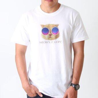 POLOMAKER เสื้อยืด TLO01 สีขาว สกรีนลาย แมวใส่แว่น (ช)