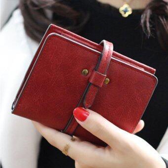 ลาวีมินิน่ารัก ๆ กระเป๋าสตางค์กระเป๋าถือกระเป๋าคลัตช์สั้นที่เก็บบัตรประชาชน (สีแดง)