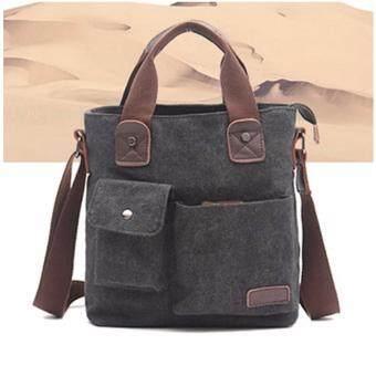 Peimm Modello Casual กระเป๋าสะพายพาดลำตัว กระเป่า Messenger ผ้าแคนวาส Multi Function (สีดำ)