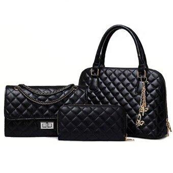 RichCoco (28) กระเป๋าแฟชั่นเกาหลี + กระเป๋าสตางค์ผู้หญิง + กระเป๋าสะพายไหล่ เซ็ต 3 ใบ (สีดำ)
