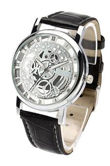 Bluelans เพศตัวเลขโรมันสีดำรัดขาวหน้าปัดนาฬิกาหนังเทียม