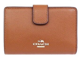 Harga COACH F53436 MEDIUM CORNER ZIP WALLET IN CROSSGRAIN LEATHER (Saddle)