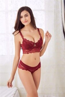 Harga 2017 New Sexy lingerie lace padded bra 5 breasted push up women bra sets75B(red) - intl