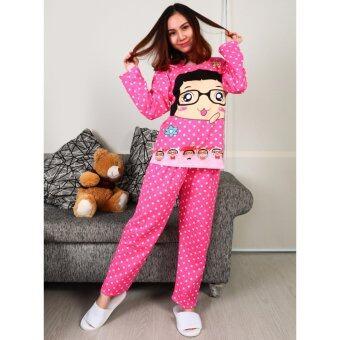 ชุดนอนเสื้อ+กางเกงลายจุดรูปเด็กผู้หญิงสีชมพู