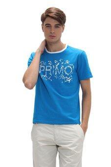 Primo เสื้อยืดคอกลม สกรีนลาย เสื้อผ้าผู้ชาย รหัส 4JM26S2014 NB - สีฟ้า