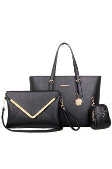 RichCoco SET กระเป๋าแฟชั่นเกาหลี + กระเป๋าถือผู้หญิง + กระเป๋าสะพายข้าง + เซ็ต 3 ใบ (สีดำ)