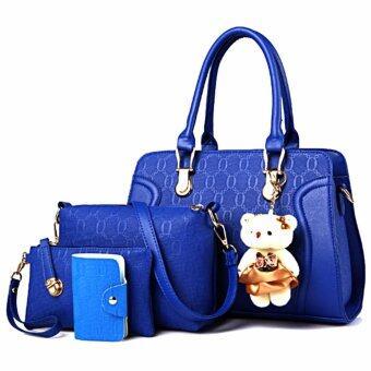 Bag กระเป๋าสะพายข้างสภาพสตรี เซ็ด 4 ใบ รุ่น new fashion 2017 (สีน้ำเงิน)