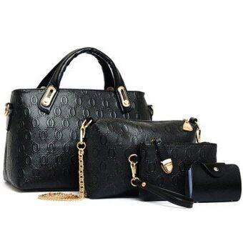 Richcoco SET กระเป๋าแฟชั่นเกาหลี + กระเป๋าสตางค์ผู้หญิง + กระเป๋าสะพายข้าง + พวงกุญแจหมี เซ็ต 4 ใบ (สีดำ)