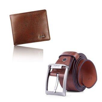 กระเป๋าสตางค์กระเป๋าถือเครื่องหนังธุรกิจคนพับครึ่งกระเป๋า และเข็มขัดหนังรัดเอวแบบสุภาพคาดเข็มขัดชุดสีน้ำตาล