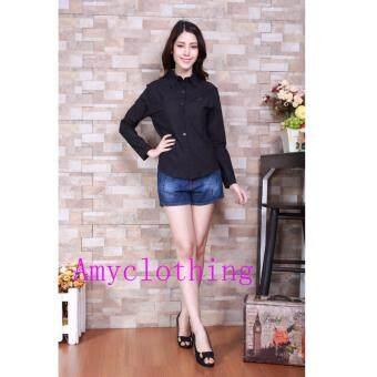 Amyclothing เสื้อเชิ้ตคอปกA201(สีดำ)