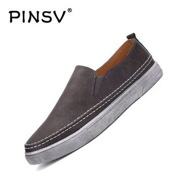 Harga PINSV Men's Casual Flats Shoes Fashion Loafers Slip-On (Grey) - intl