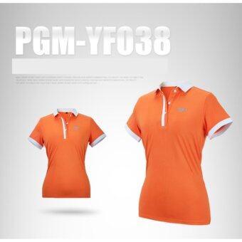 EXCEED GOLF LADY SHIRT ORANGE COLOUR เสื้อกอล์ฟสุภาพสตรีแขนสั้น PGM สีส้ม (YF038)