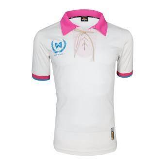 WARRIX SPORT เสื้อฟุตบอลพิมพ์ลาย WA-1528 ( สีขาว-ชมพู )