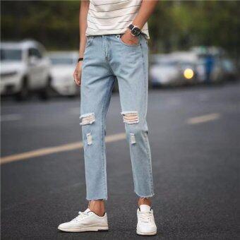 SAVE กางเกงยีนส์แฟชั่น กางเกงยีนส์ขายาวผู้ชาย แต่งขาด (สียีนส์ซีด)รุ่น 709