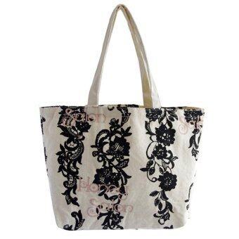 กระเป๋าผ้าแฟชั่นสไตล์ญี่ปุ่น ลายดอกวิสทีเรีย สีขาว