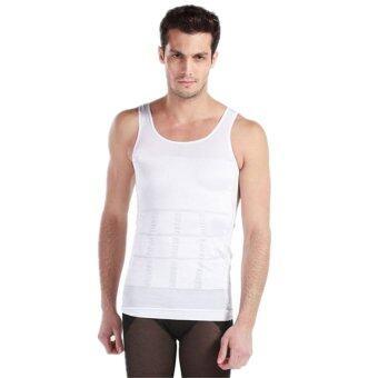 PlusSlim เสื้อยืด เสื้อกล้ามชาย เสื้อเก็บพุง กระชับหุ่น พยุงท้อง หุ่นดูดี ดูเท่ห์ ลดพุง men slimming shaper shirt สีขาว