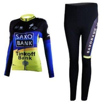 ชุดขี่จักรยานแขนยาวขายาว ผู้หญิง SAXO (ดำ/น้ำเงิน/เหลือง)