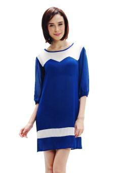 All about Fashionista เดรสผ้าชีฟองเนื้อทรายตัดต่อทูโทน - สีน้ำเงิน