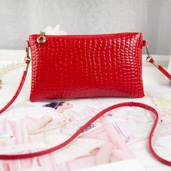 จระเข้นำรูปแบบกระเป๋าสตรีกระเป๋าสีแดง