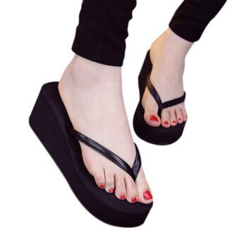 แฟชั่นฤดูร้อนสไตล์ผู้หญิงขายตัวกันลื่น Flip Flops ดำ